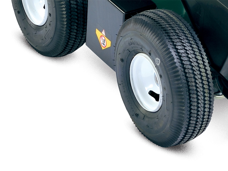 Large pneumatic tires.